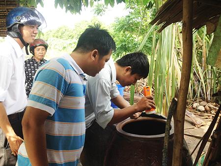 Kiểm tra lăng quăng tại các hộ gia đình trên địa bàn huyện Cờ Đỏ